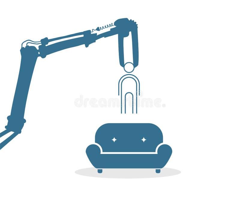 Aspiration géante de bras et de sofa de machine illustration libre de droits