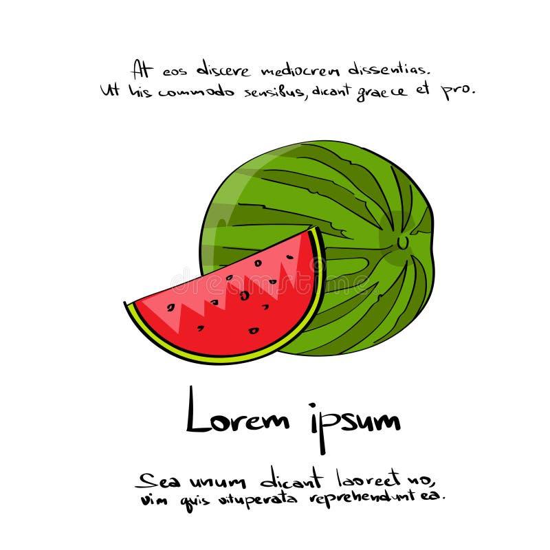 Aspiration Logo Color Icon Set de main de coupe de pastèque illustration libre de droits