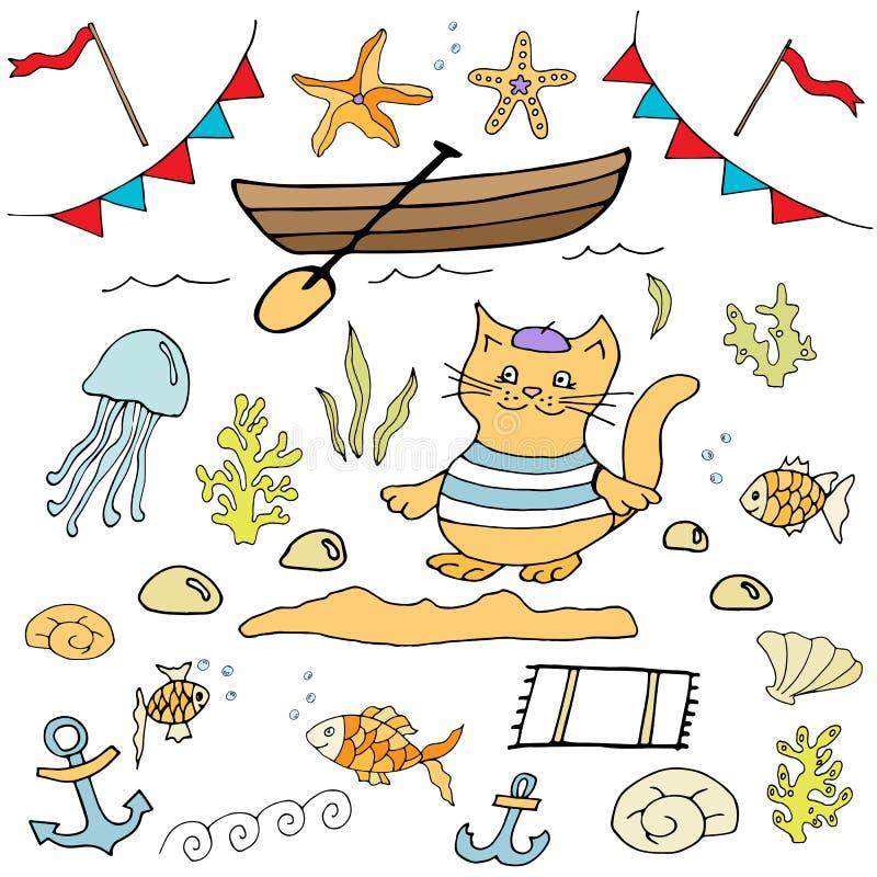 Aspiration marine de main de clipart (images graphiques) de vecteur de thème illustration libre de droits