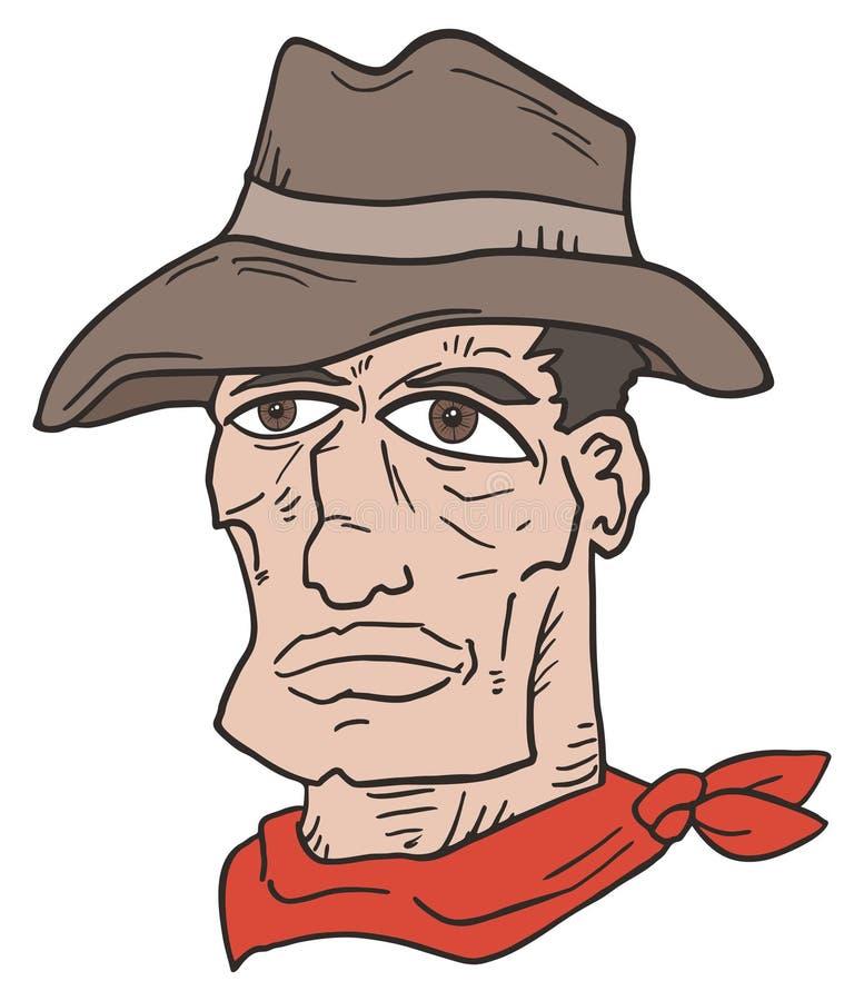 Aspiration occidentale de visage d'homme illustration stock