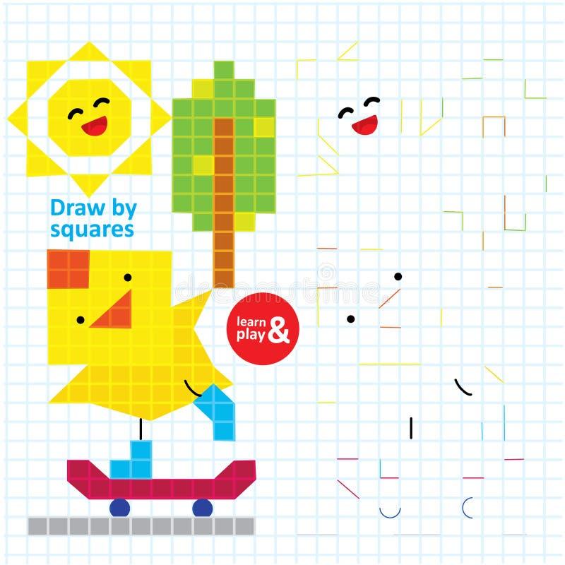 Aspiration par le poussin de places sur la planche à roulettes Art Kid Game illustration de vecteur