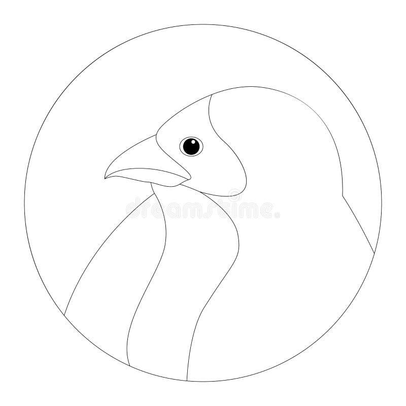 Aspiration rouge de doublure d'illustration de vecteur de tête de visage d'oiseau d'évêque illustration stock