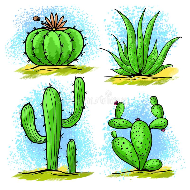 Aspiration sauvage de cactus illustration stock