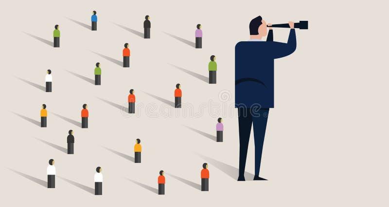 Aspirational Geschäft Firmenunternehmensführung lokalisiert, Konzept der Vision, Auftragehrgeiz Mann, der herein schaut lizenzfreie abbildung