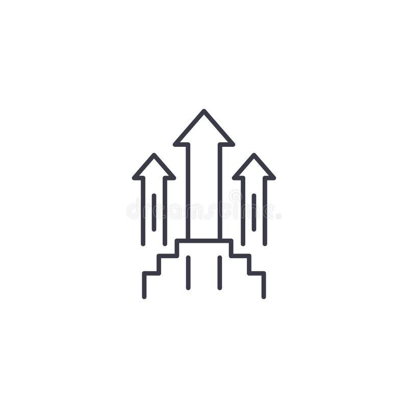Aspirations pour le concept linéaire d'icône de croissance Les aspirations pour la ligne vecteur de croissance signent, symbole,  illustration stock