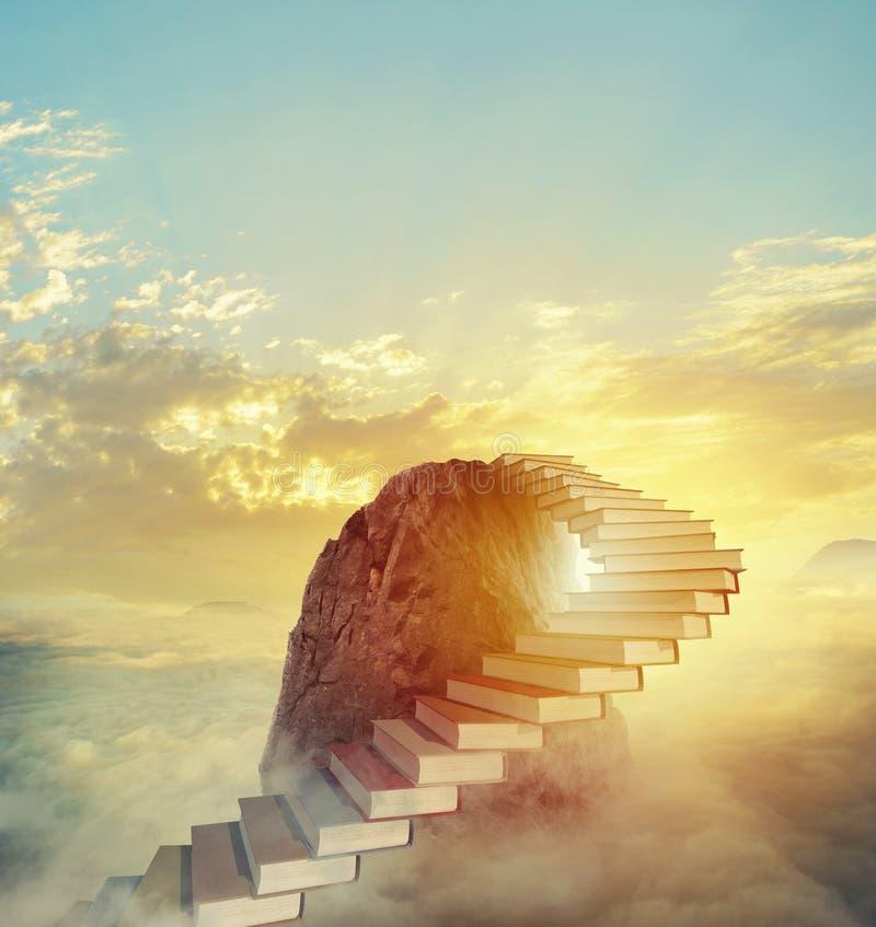 Aspire к престижным ролям путем взбираться лестница книг иллюстрация вектора