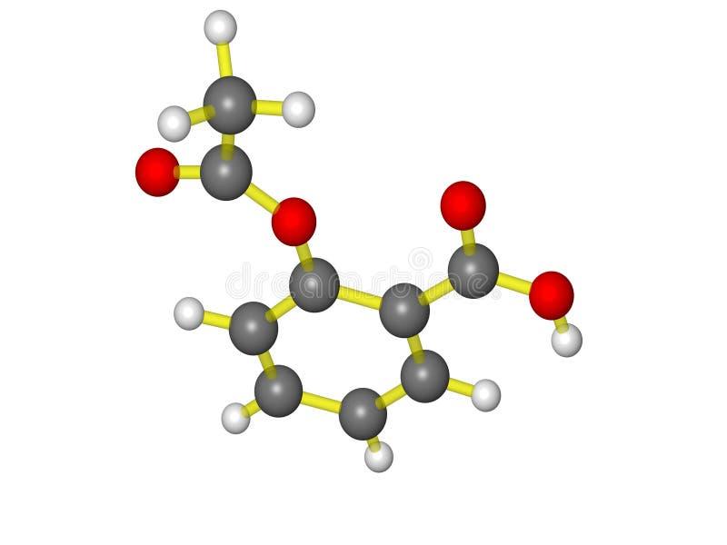 Aspirin. Molecular ball and stick model of aspirin royalty free illustration