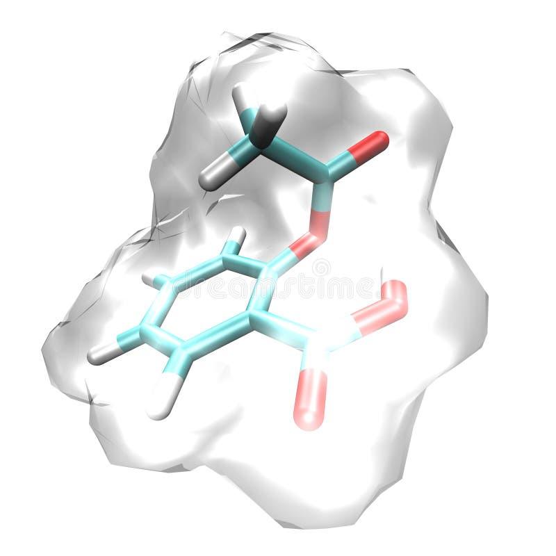 Aspirin. Molecular model of the structure of aspirin stock illustration