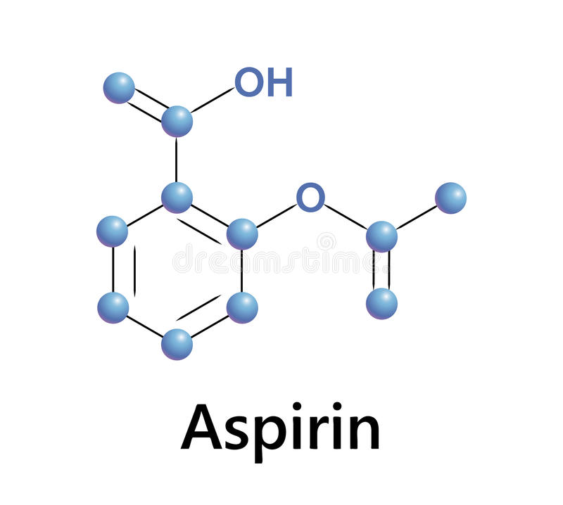 Aspirin. Chemical formula structure, a medical vector stock illustration