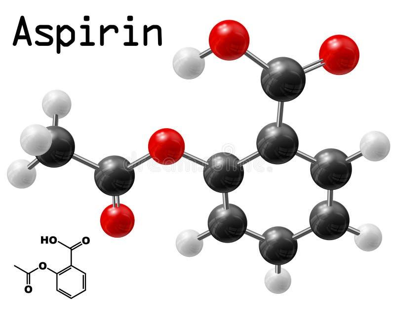 Aspirin molecule. Structural model of aspirin molecule vector illustration