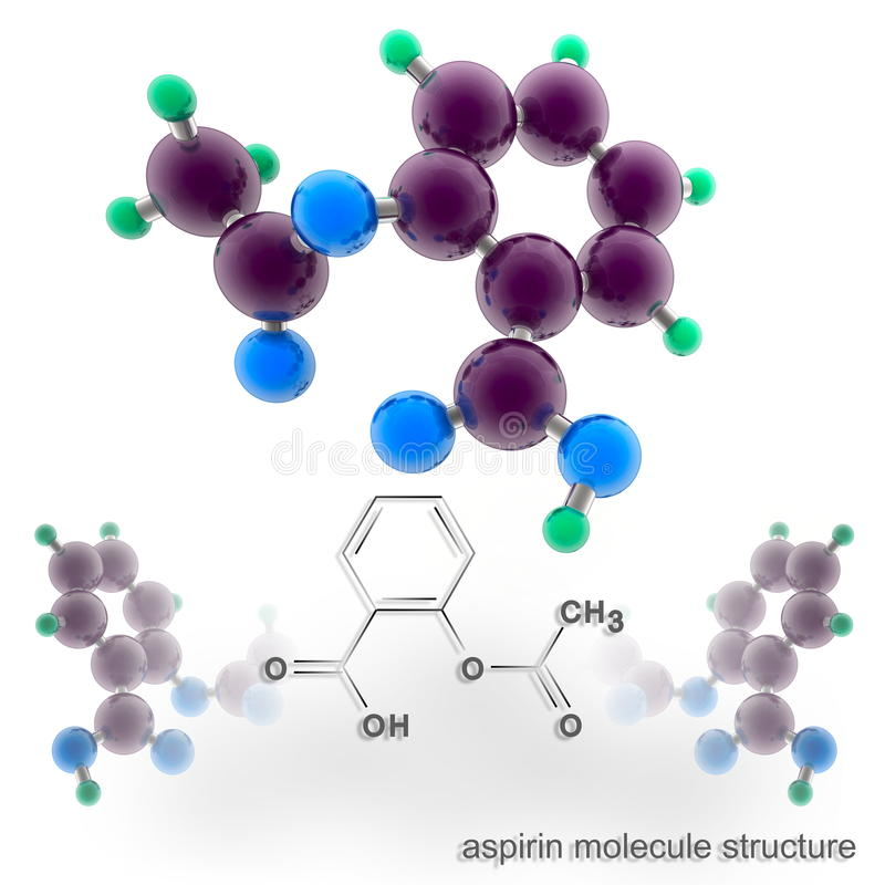 Aspirin molecule structure. Three dimensional model render vector illustration