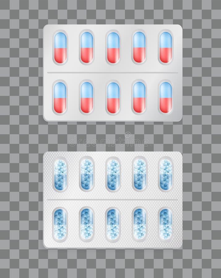Aspirin oder Vitamine in den Tablets, die für Drogen verpacken lizenzfreie abbildung