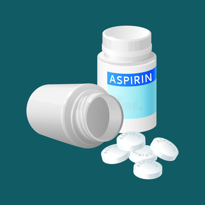 Aspirin pill bottle vector illustration. Medicine remedy in plastic container. Pharmaceutical medicament painkiller isolated in realistic style. Package for stock illustration