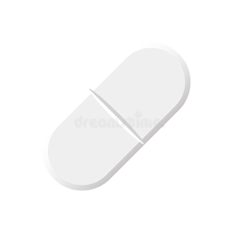 Aspirin pill , tablet isolated on white background.  vector illustration