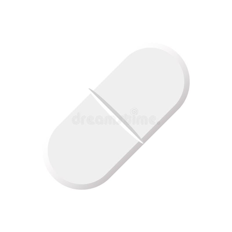 Aspirin-Pille, Tablette lokalisiert auf weißem Hintergrund vektor abbildung