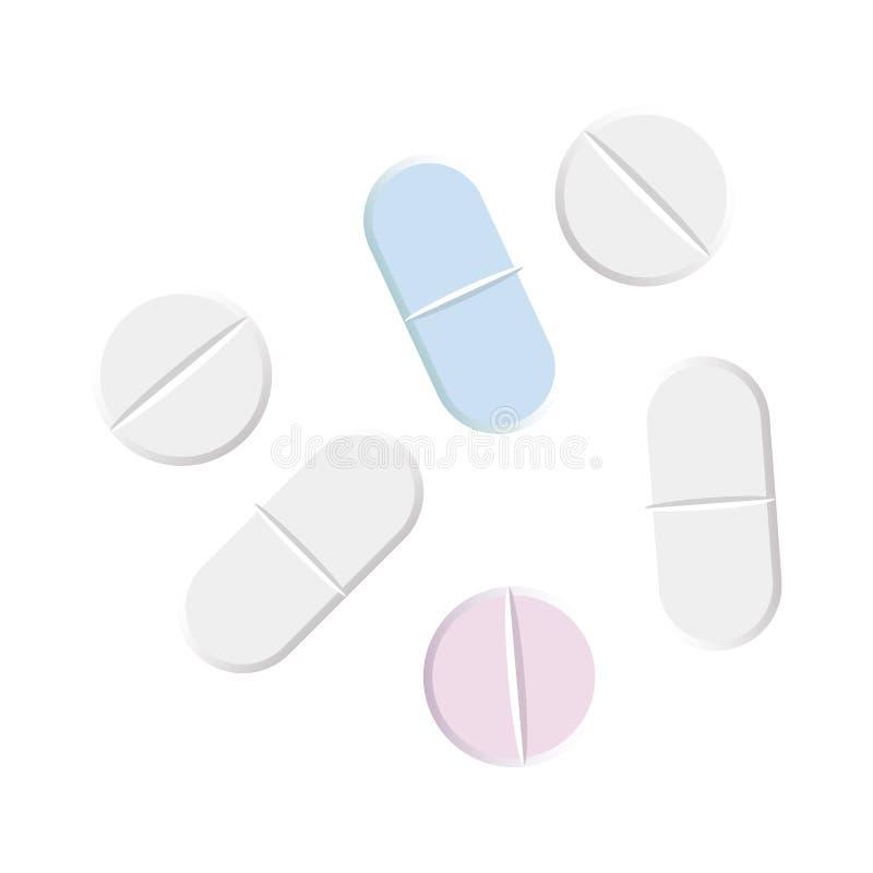 Aspirin-Pillensatz lokalisiert auf weißem Hintergrund lizenzfreie abbildung