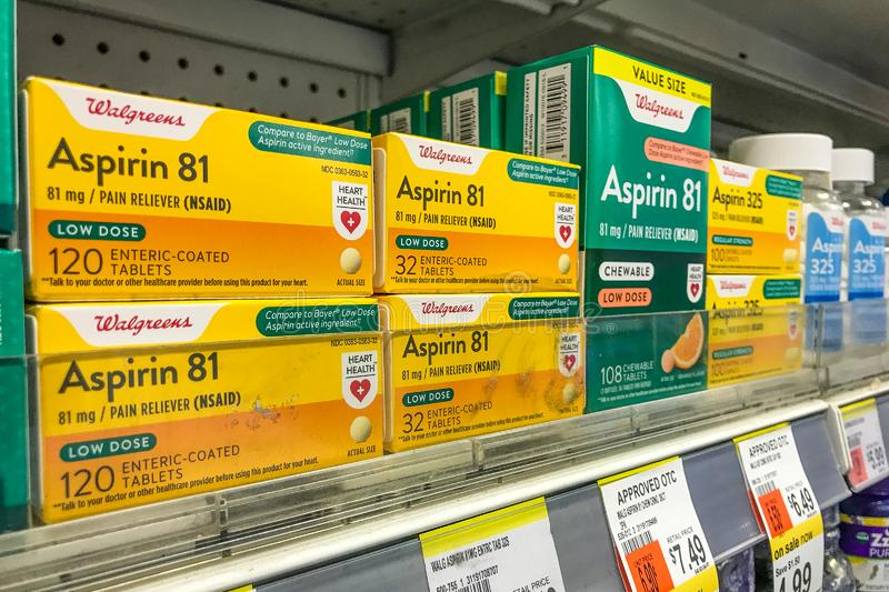 Aspirin for sale at Walgreens royalty free stock images