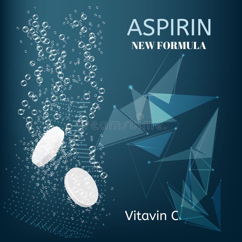 aspirin Schäumende lösliche Tablettenpillen Funkelndes Wasser sprudelt Spuren lizenzfreie abbildung