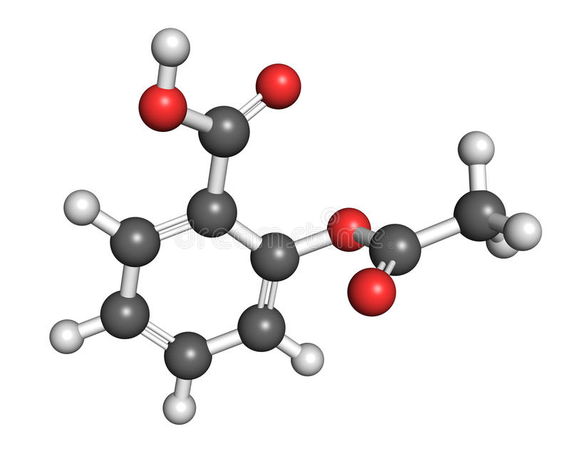 Aspirin structure. Ball-and-stick model of acetylsalicylic acid molecule, a drug often used to relieve pain, reduce body temperature and as a general anti vector illustration