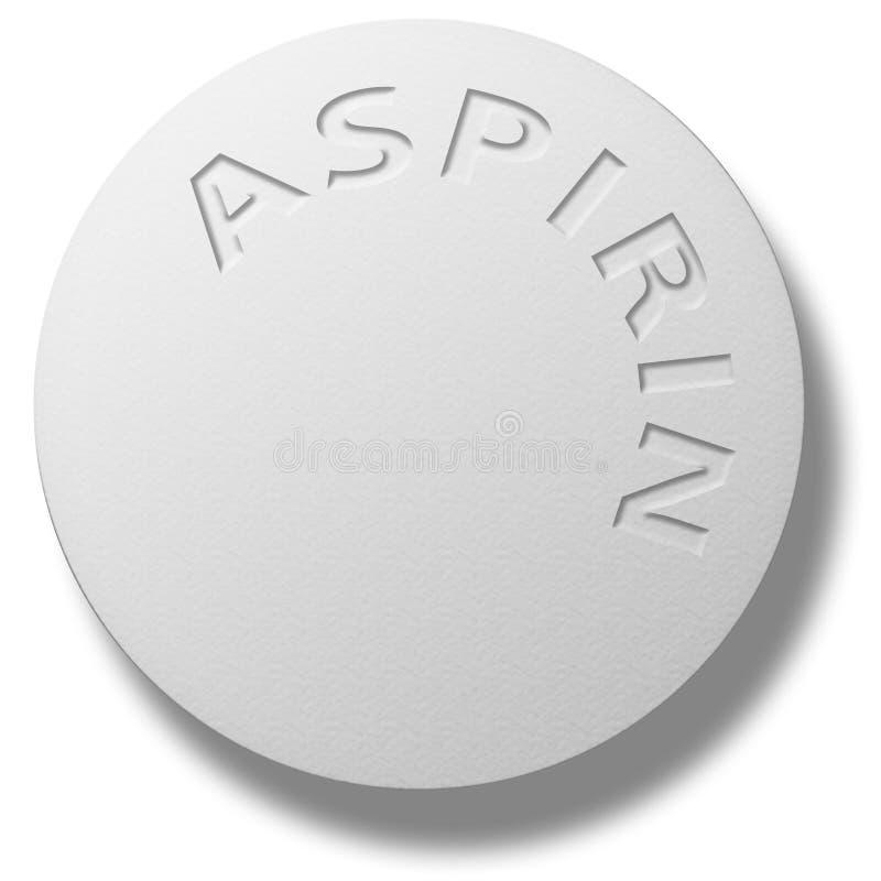 Aspirin Tablet. Illustrated White Aspirin Tablet on white royalty free illustration