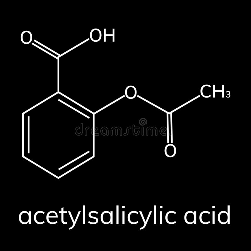 Aspirin vector icon on dark background. Acetylsalicylic acid stock illustration