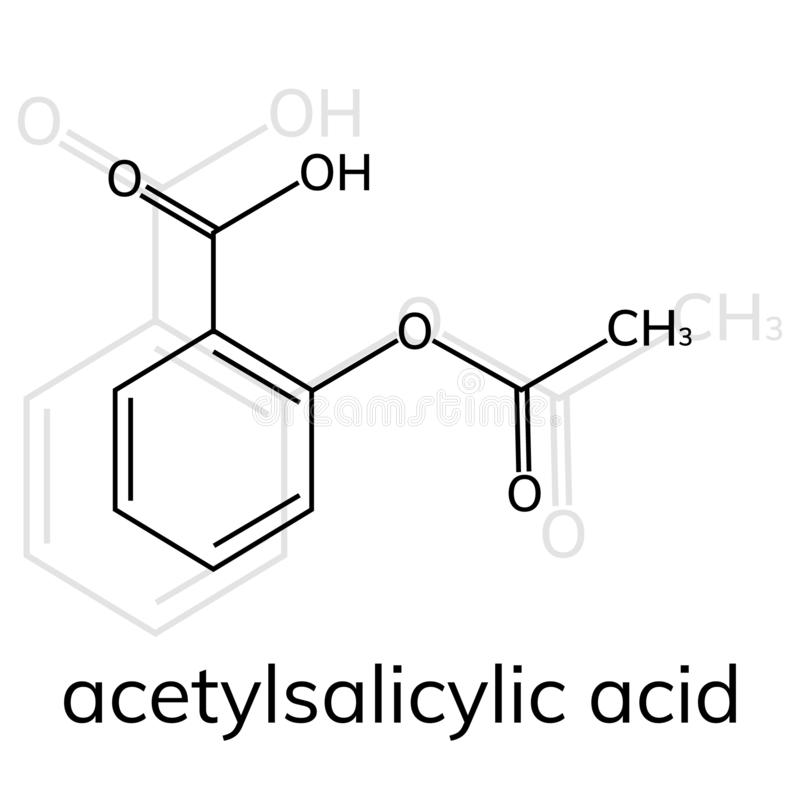Aspirin vector icon on white background. Acetylsalicylic acid stock illustration