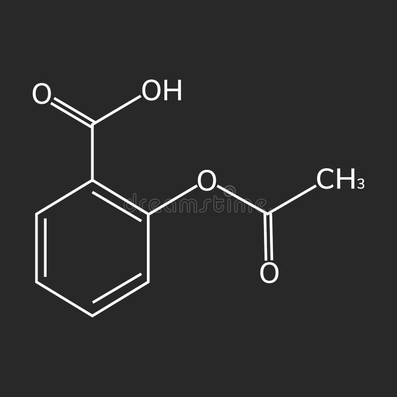 Aspirin-Vektorikone auf dunklem Hintergrund lizenzfreie abbildung