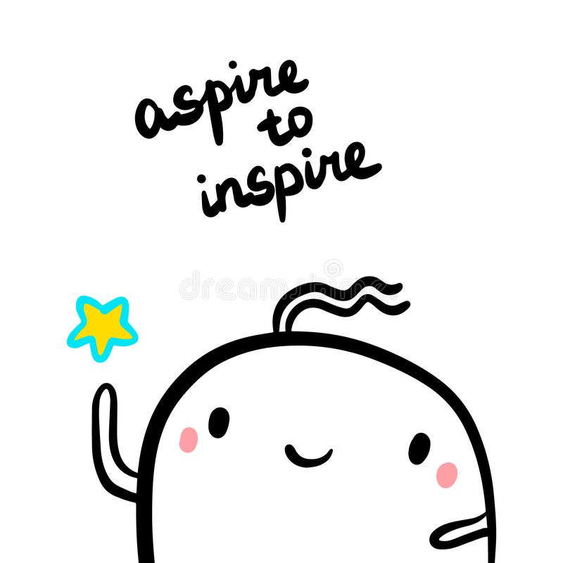 Aspiruje inspirować ręka rysującą ilustrację z ślicznym marshmallow mienia gwiazdy kreskówki stylem ilustracja wektor