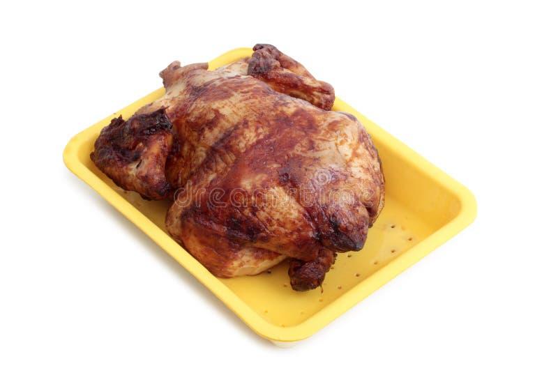Assado da galinha no branco fotografia de stock