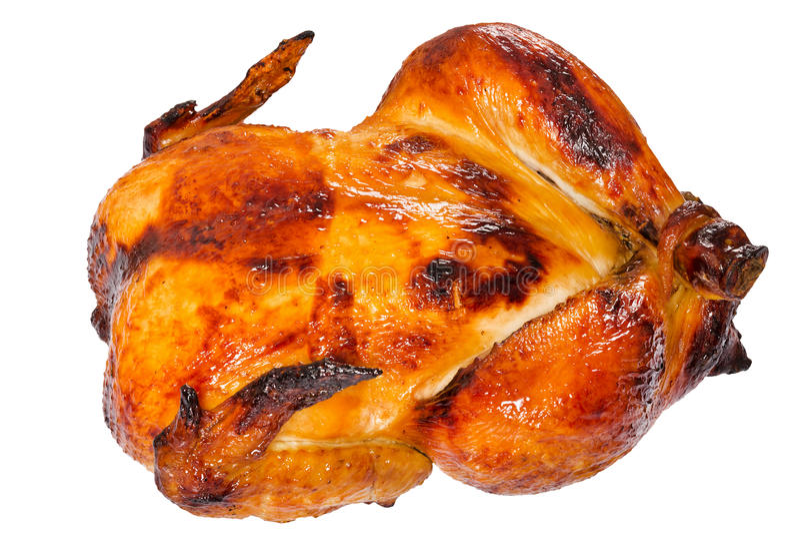Assado da galinha no forno isolado no fundo branco fotografia de stock royalty free