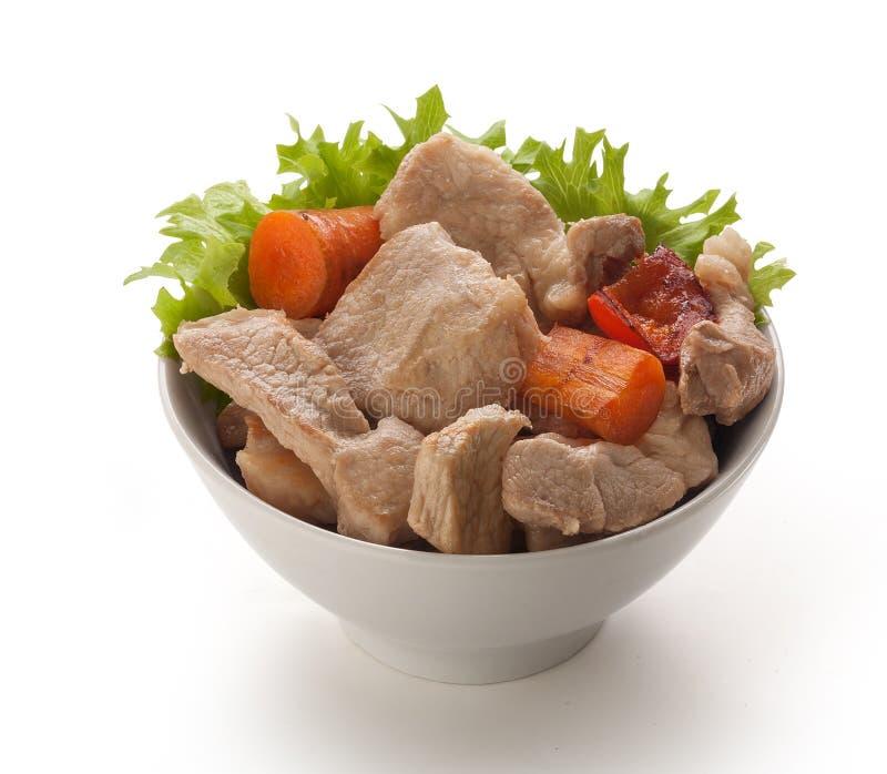 Assado de carne de porco na bacia imagem de stock