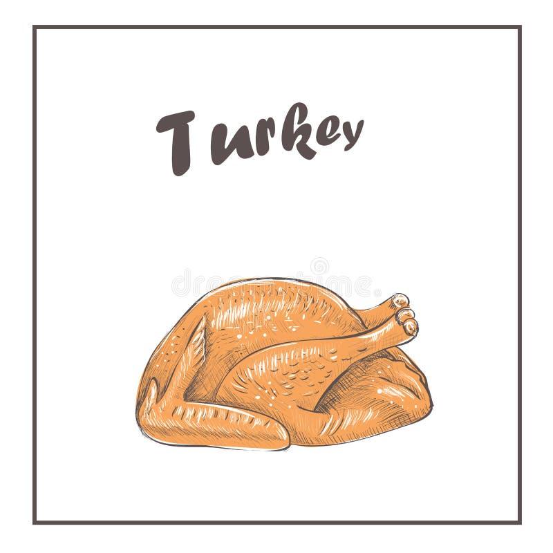 Assado de Fried Turkey cozinhado ilustração royalty free