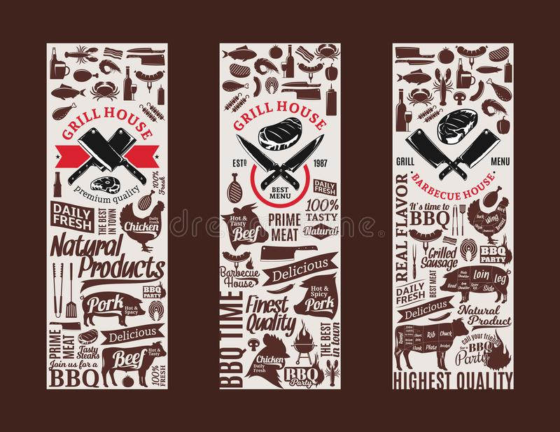 Assado do vetor, grade e bandeiras da churrasqueira ilustração do vetor