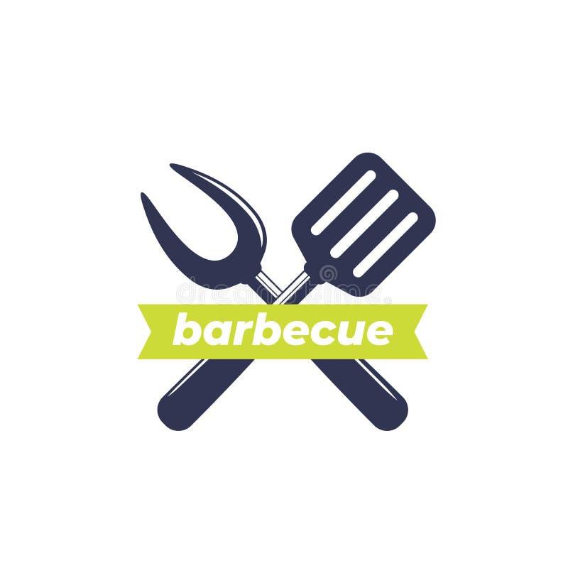 Assado, logotipo do vetor do BBQ ilustração royalty free