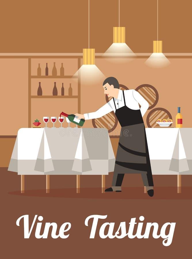 Assaggio di vino nell'insegna piana di vettore del deposito di vino illustrazione vettoriale