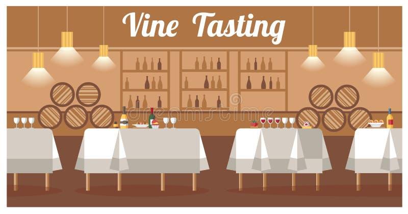 Assaggio di vino nell'insegna piana di vettore della cantina di lusso illustrazione di stock