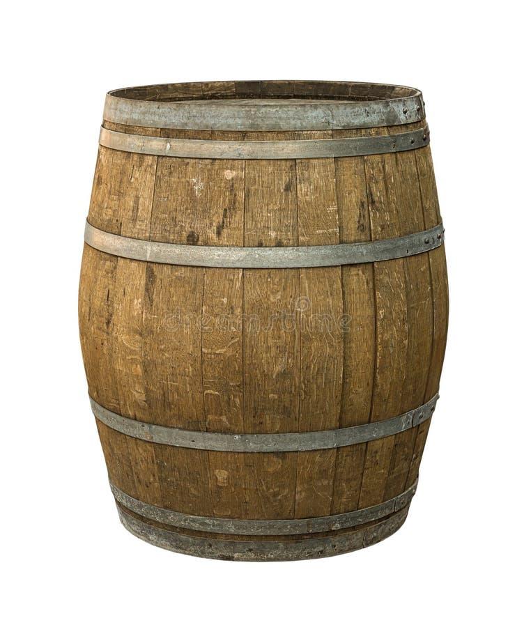 Assaisonnement âgé superficiel par les agents gris de la Madère de vin de vieux cercles en acier de baril de chêne sur le fond d' image stock