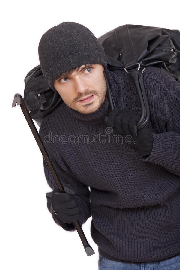 Assaltante com saco preto fotografia de stock royalty free