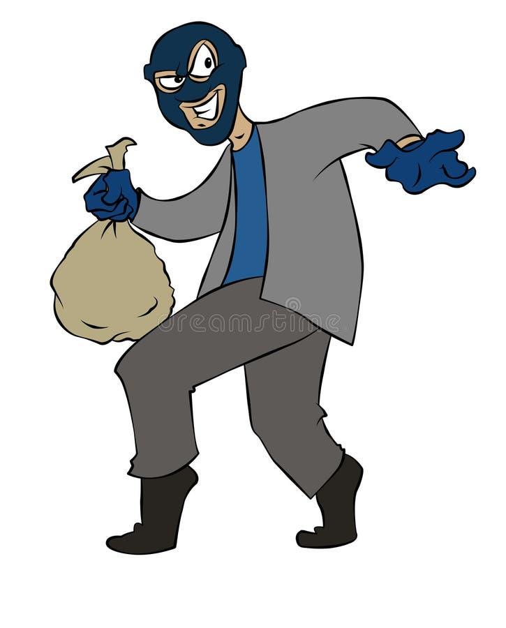 Assaltante dos desenhos animados ilustração do vetor