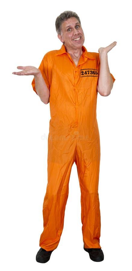 Assaltante inocente engraçado do trafulha do Jailbird isolado fotografia de stock
