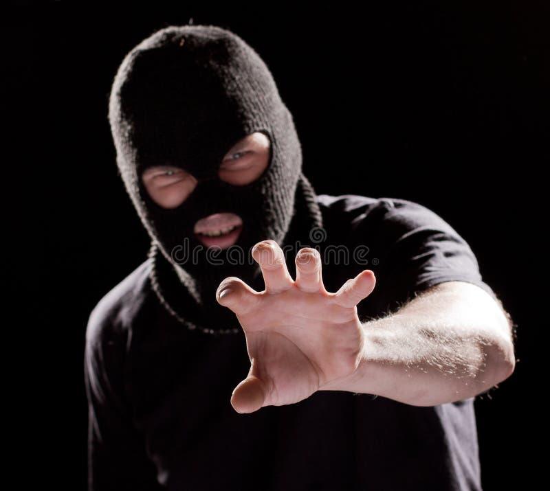 Assaltante na máscara imagens de stock