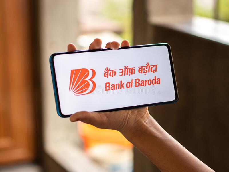 Assam, india - July 18, 2020 : Bank of baroda a famous private sector bank. stock image