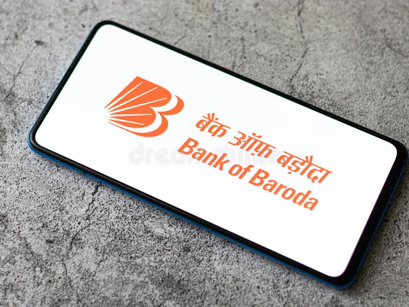 Assam, india - July 18, 2020 : Bank of baroda a famous private sector bank. stock photo