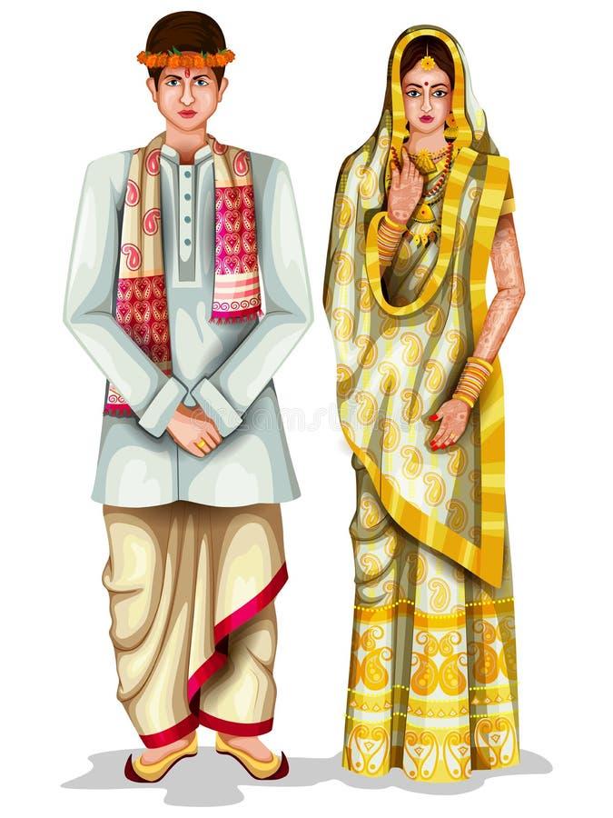 Assamesebrölloppar i traditionell dräkt av Assam, Indien stock illustrationer