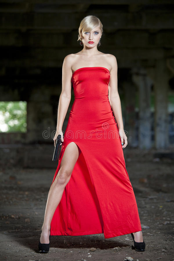 Free Assassin In Red Dress Stock Images - 33604214