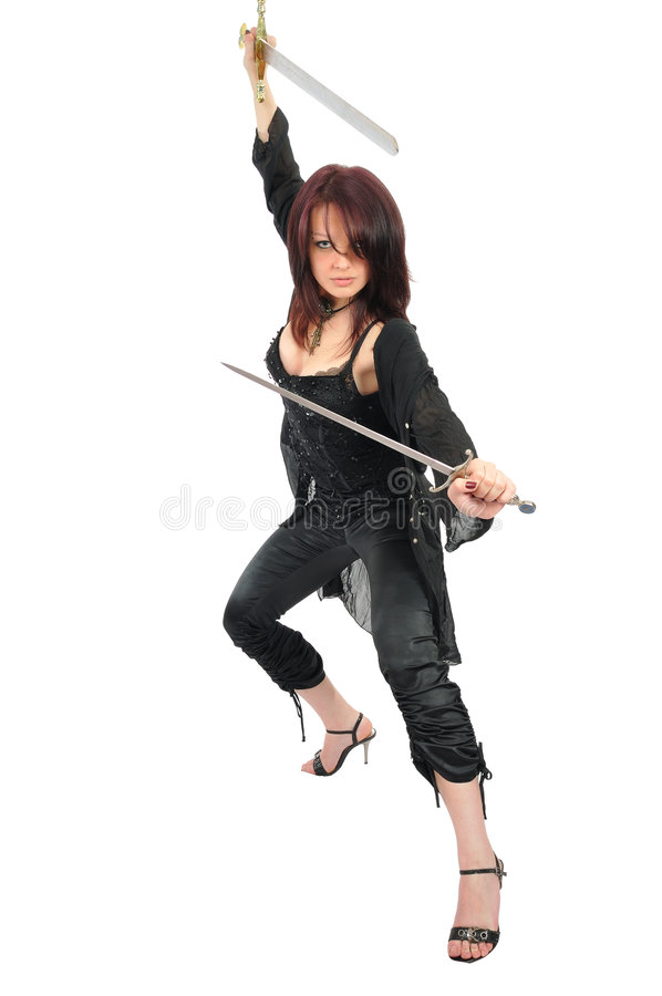Free Assassin Woman With Two Swords Royalty Free Stock Photography - 5672687