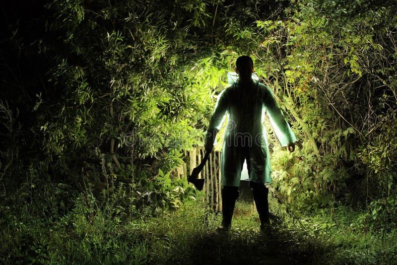 Assassino con un'ascia nel giardino immagine stock