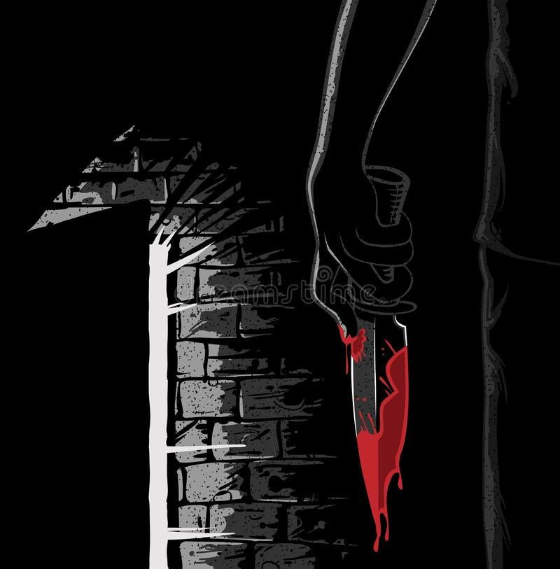 Assassino con una lama sanguinante nello stile del noir illustrazione di stock