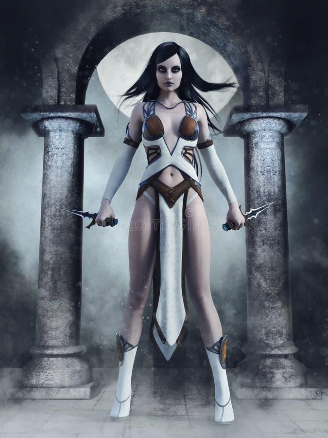 Assassino di fantasia con i coltelli in un tempio illustrazione di stock