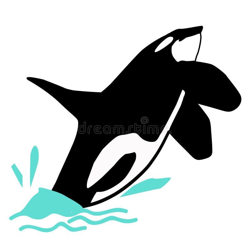Assassino do tubarão da orca no mar ilustração royalty free